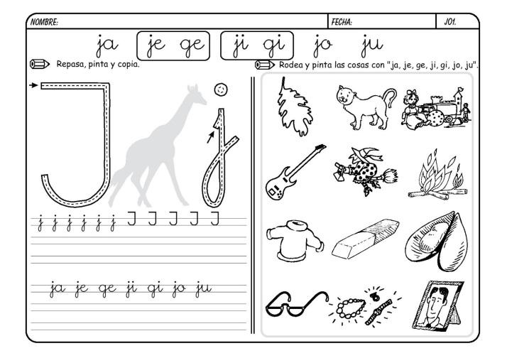 lectoescritura letra J metodo boo 1