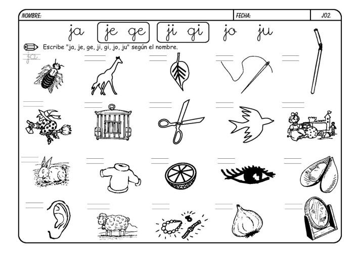 lectoescritura letra J metodo boo 2