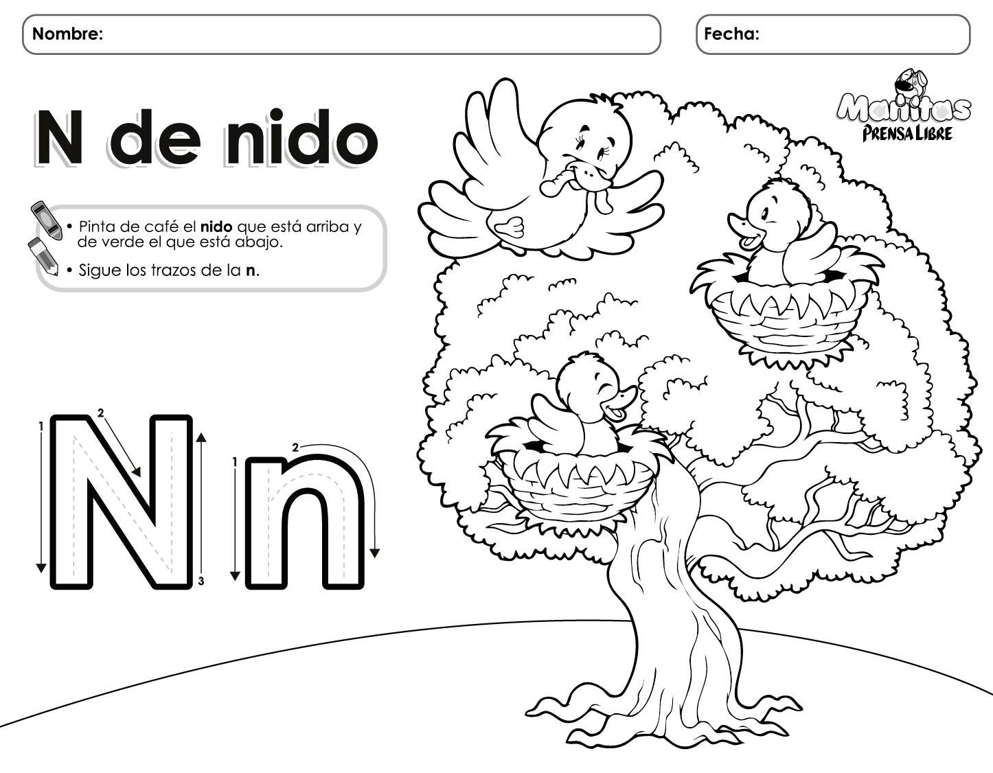 Contemporáneo Letra N Hoja Para Colorear Adorno - Dibujos Para ...