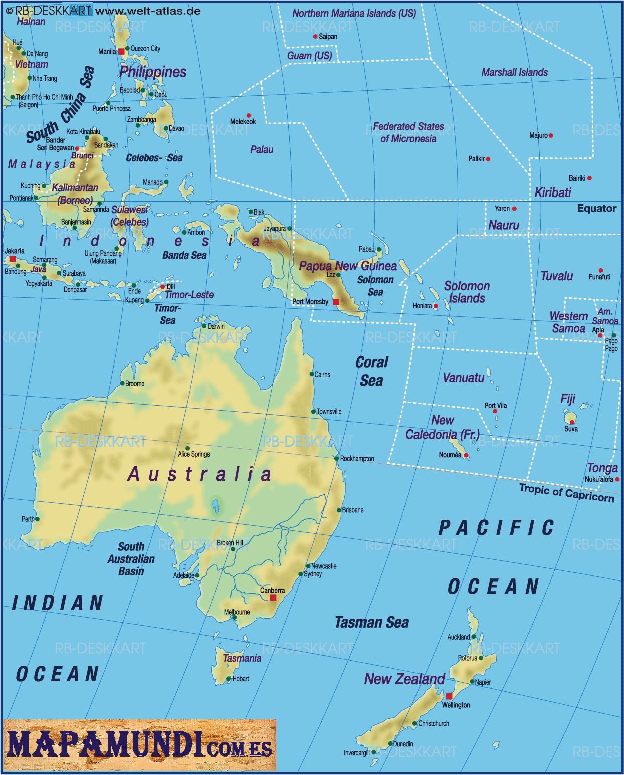 Mapa De Oceania Fisico En Español.Mapas De Oceania Un Rincon En Casa